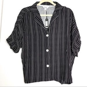 Nicole Miller sz L black and white button down